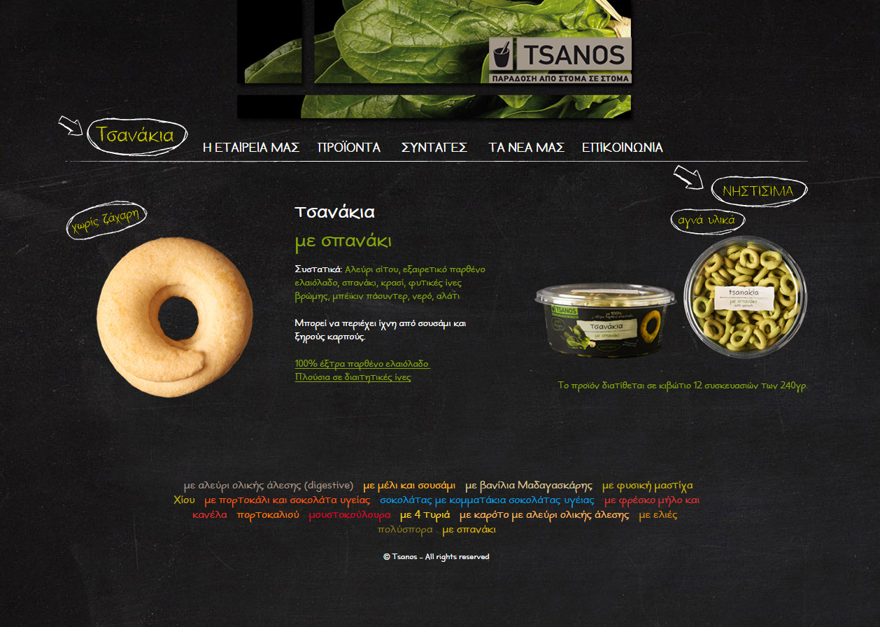 Tsanos website product
